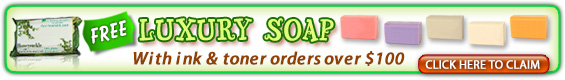 free luxury soap with your ink and toner orders