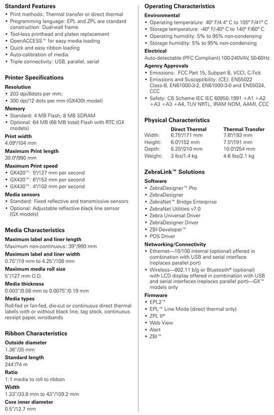 Inkman com au - ZEBRA Desktop GK420T 203DPI Thermal Transfer