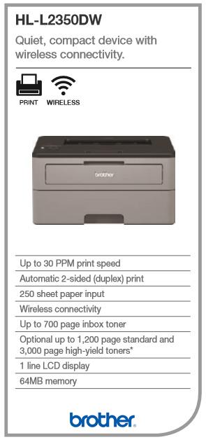 Inkman com au - Brother HL-L2350DW Mono Laser Printer